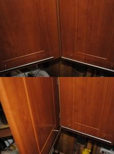 Ручки, упираясь друг в друга, мешают полному открыванию дверцы